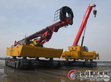 三一电气自主研发滩涂起重机运往江苏响水风电现场施工