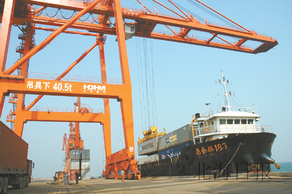 北海港增加岸桥等装卸设备 提高集装箱装卸能力