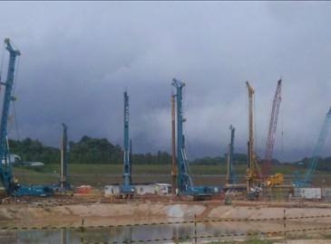 山河智能7臺旋挖鉆機展開新加坡地鐵助建工作