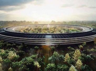 苹果新总部 Campus 2建设如火如荼 现场有数台起重机
