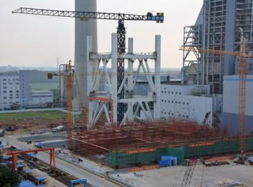 皖能铜陵电厂百万机组项目第二层炉架圆满吊装