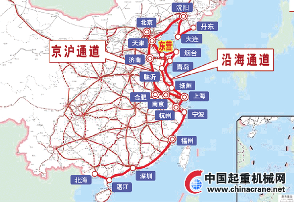 这次《规划》中的沿海通道,北起大连(丹东),经秦皇岛,天津到达东营,然