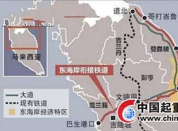中国提供891亿投建马来西亚东海岸衔接铁道工程