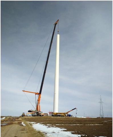 中联重科QAY2000在陕西定边风电施工现场