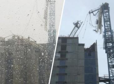 """受飓风""""艾尔玛""""影响 迈阿密一建筑起重机塌落"""
