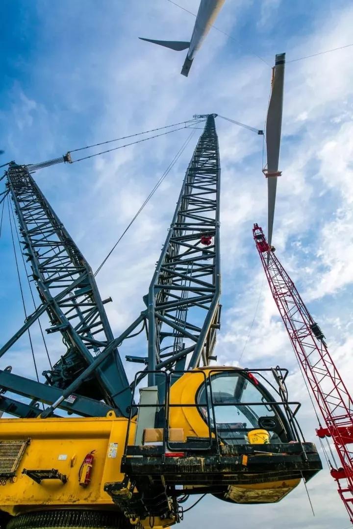 三一scc6500a履带起重机风电吊装创新高度图片