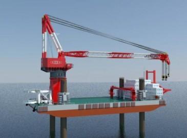 我国研发世界最大风电施工平台下水 起重能力达2千吨
