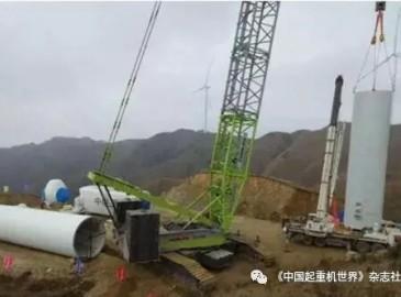 中联新涂装履带吊主吊 白云仙风电场二期工程首台风机开始吊装